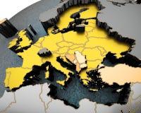 Kaart van Europa op gebied wordt overspannen dat Stock Foto's