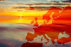 Kaart van Europa op hemel Stock Afbeelding