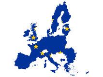 Kaart van Europese Unie royalty-vrije illustratie