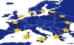 Kaart van Europese Unie Stock Fotografie