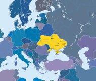 Kaart van Europese Unie en aanwijzing van de Oekraïne Stock Foto's