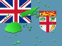 Kaart van Fiji met vlag Royalty-vrije Stock Fotografie