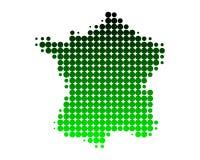 Kaart van Frankrijk in groene punten Royalty-vrije Stock Afbeeldingen