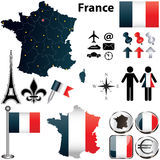 Kaart van Frankrijk met gebieden Stock Afbeeldingen