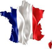 Kaart van Frankrijk met vlag Stock Fotografie