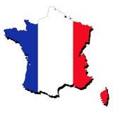Kaart van Frankrijk met vlag
