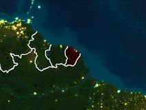 Kaart van Frans-Guyana bij nacht Royalty-vrije Stock Foto's