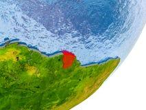 Kaart van Frans-Guyana ter wereld Royalty-vrije Stock Afbeeldingen