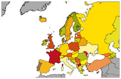 Kaart van gedetailleerd Europa - - Illustratie Royalty-vrije Stock Fotografie