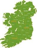 Kaart van geheel Ierland. Stock Afbeelding