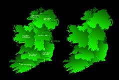 Kaart van geheel Ierland met gebieden Stock Afbeelding