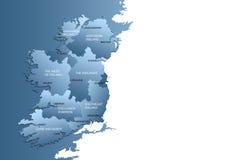 Kaart van geheel Ierland met gebieden Stock Afbeeldingen