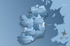 Kaart van geheel Ierland met gebieden Royalty-vrije Stock Afbeeldingen