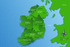 Kaart van geheel Ierland met gebieden Stock Fotografie