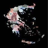 Kaart van Griekenland met euro stock illustratie