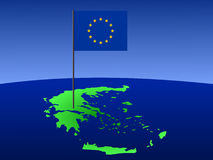 Kaart van Griekenland met vlag royalty-vrije illustratie