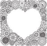 Kaart van hart-Vormig met bloemen Vector kleurend boek voor volwassene De kaart van de Dag van valentijnskaarten Huwelijkenuitnod royalty-vrije illustratie