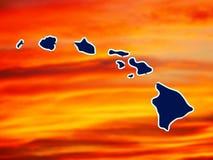 Kaart van Hawaiiaanse eilanden stock illustratie