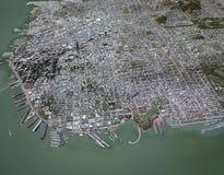 Kaart van het centrum 3d gebouwen van San Francisco Royalty-vrije Stock Afbeeldingen