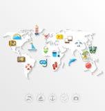 Kaart van het Concept van de Wereldreis, Eenvoudige Kleurrijke Vlakke Pictogrammen royalty-vrije illustratie