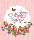 Kaart van het de Dag de Typografische Ontwerp van gelukkige Moeders Stock Afbeelding