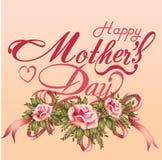 Kaart van het de Dag de Typografische Ontwerp van gelukkige Moeders Stock Afbeeldingen
