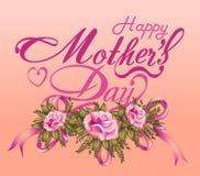 Kaart van het de Dag de Typografische Ontwerp van gelukkige Moeders Stock Fotografie