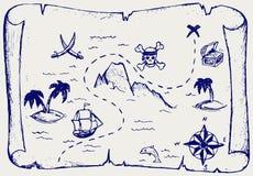 Kaart van het Eiland van de Schat Stock Afbeeldingen
