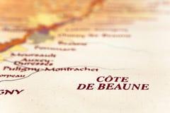 Kaart van het gebied van Bourgondië Stock Afbeeldingen