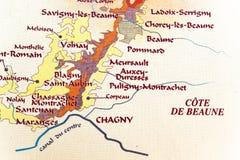 Kaart van het gebied van Bourgondië stock foto's