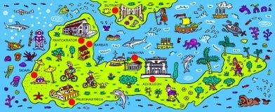 Kaart van het Griekse eiland Korfu Stock Afbeeldingen