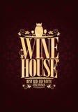 Kaart van het het Huismenu van de ontwerp de uitstekende Wijn stock illustratie