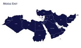 Kaart van het Midden-Oosten royalty-vrije illustratie
