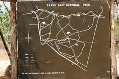 Kaart van het Park van het Oosten van Tsavo de Nationale Royalty-vrije Stock Afbeeldingen