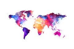 Kaart van het ruimteontwerp van de wereld artistieke kleurrijke nevel royalty-vrije illustratie