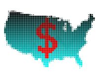 Kaart van het teken van de V.S. en van de dollar Stock Afbeelding
