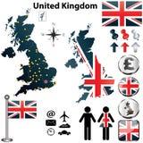 Kaart van het Verenigd Koninkrijk Stock Afbeelding