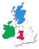 Kaart van het Verenigd Koninkrijk met inbegrip van Landen en Coun Stock Afbeeldingen