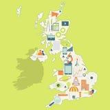 Kaart van het Verenigd Koninkrijk met technologiepictogrammen Stock Afbeelding