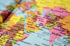 Kaart van hete vlek het Midden-Oosten Stock Afbeelding