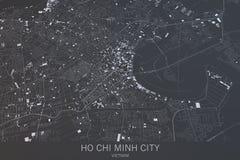 Kaart van Ho Chi Minh City, satellietmening, Vietnam Stock Fotografie
