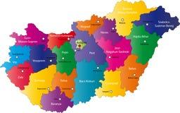 Kaart van Hongarije stock illustratie