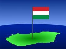 Kaart van Hongarije met vlag Stock Afbeelding
