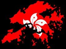 Kaart van Hongkong en vlag Stock Afbeeldingen