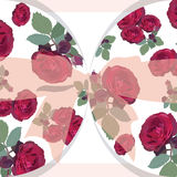 Kaart van huwelijks de rode rozen met boog Royalty-vrije Stock Foto