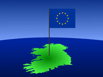 Kaart van Ierland met vlag Royalty-vrije Stock Foto's