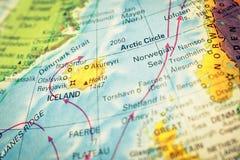 Kaart van IJsland Het beeld van de close-up Stock Afbeeldingen