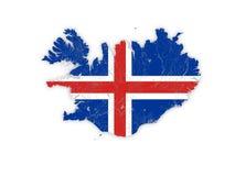 Kaart van IJsland met rivieren en meren in kleuren van nationaal F Royalty-vrije Stock Fotografie