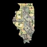 Kaart van Illinois met dollars Stock Fotografie