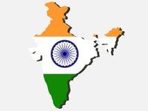 Kaart van India Stock Foto